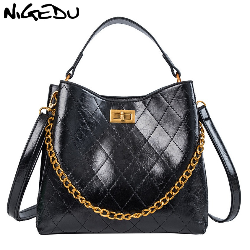 NIGEDU Shoulder Bag For Women Chain Bucket  Messenger Bag Pu Leather Quilted Female Handbags Luxury Designer Sac A Main Femme
