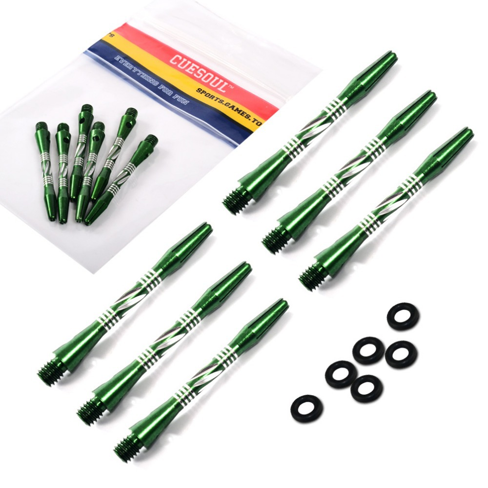CUESOUL 2 Set Dart Shaft,Green Shaft With Orings For Darts,Aluminum