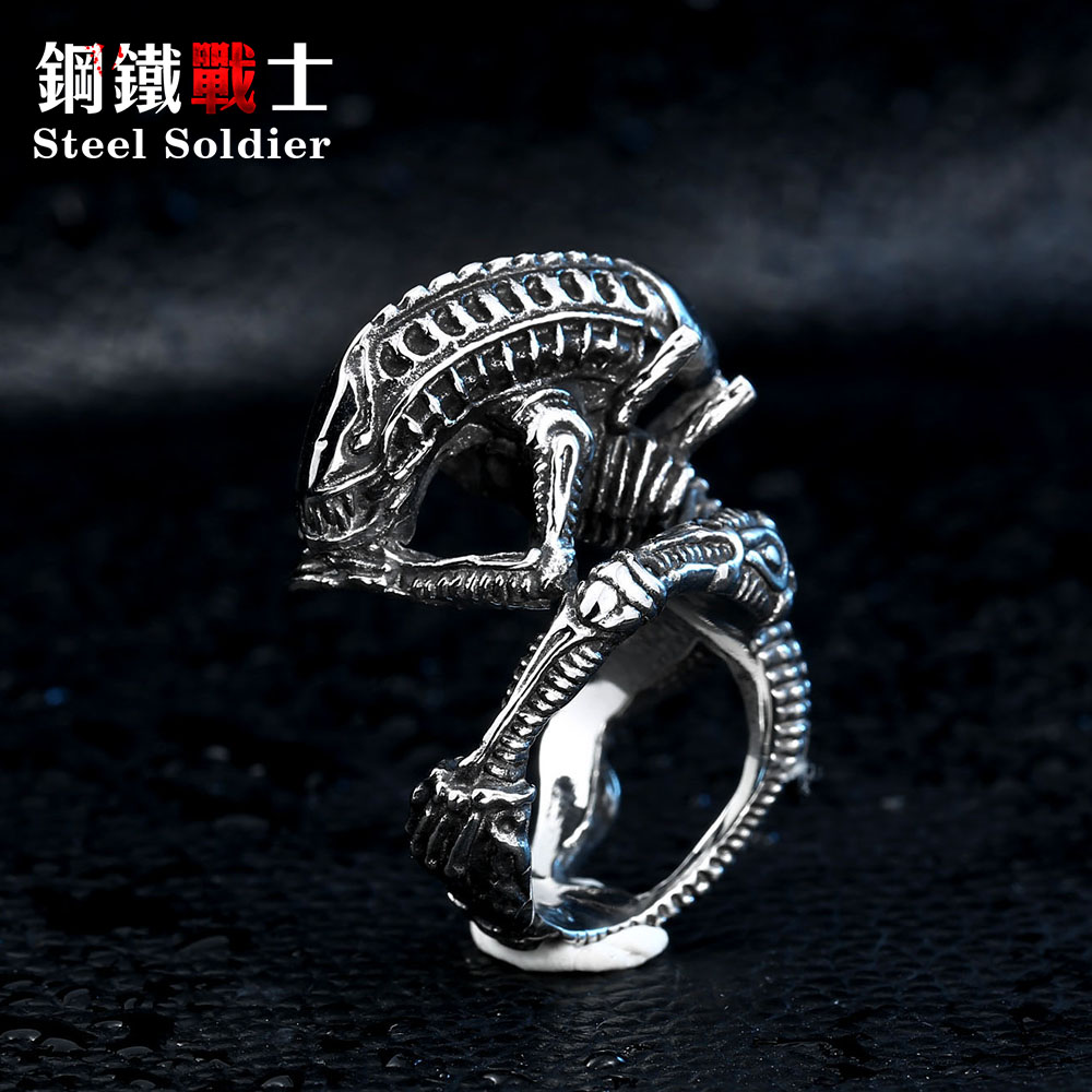 steel soldier drop shipping movie style Alien ring stainless steel - Fashion Jewelry