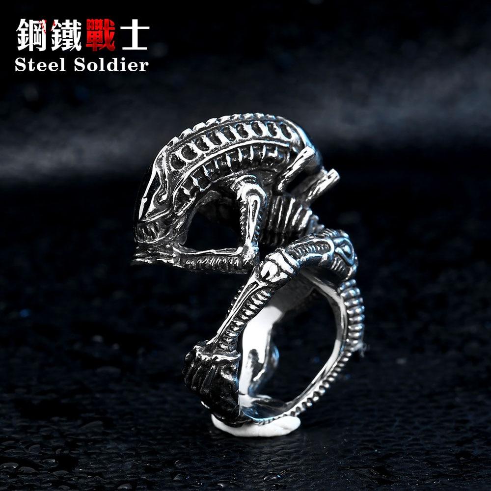 acél katona csepp hajózás film stílusú idegen gyűrű rozsdamentes acél jó részlet a férfiak gyűrű titán acél ékszerek