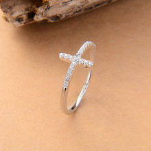 Trend Sideways Cross silver plated rings Fashion Jewelry free shipping crystal vintage wedding ring for women