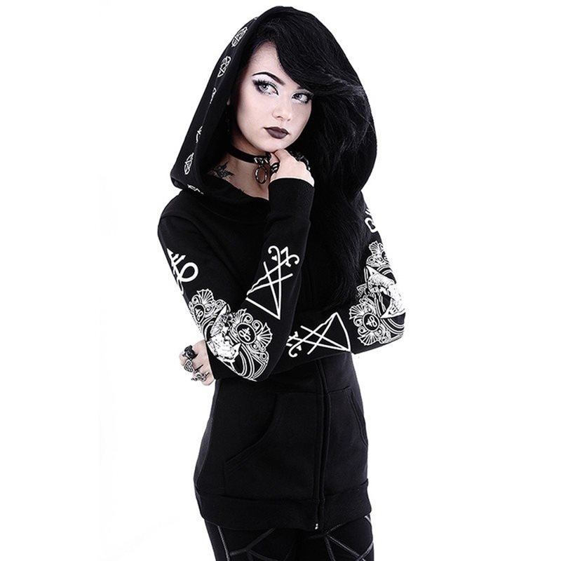 Black Hoodie Sweatshirt Women Plus Size Tops Punk Gothic Print Hooded Hipster Streetwear Spring Big Sizes 5XL Goth Girls Hoodies