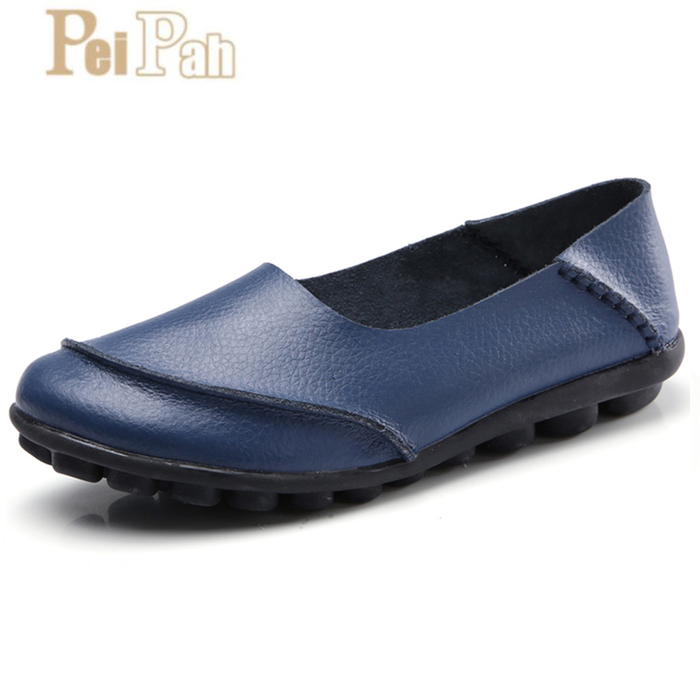 PEIPAH 2019 Spring New Cow Leather Womens Shoes Comfortable Ladies Peas Shoes Solid Big Size Zapatillas Mujer Femme Boat ShoesPEIPAH 2019 Spring New Cow Leather Womens Shoes Comfortable Ladies Peas Shoes Solid Big Size Zapatillas Mujer Femme Boat Shoes