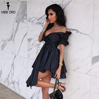 Missord 2019 Women Sexy Deep V short Sleeve Dresses Female Solid Color Elegant Party Dress Vestdios FT18347