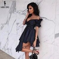 Missord 2019 Women Sexy Deep V short Sleeve Dresses Female Solid Color Elegant Party Dress Vestdios FT18347