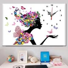 ФОТО youran diy diamond embroidery set full round drill diamond painting clock cartoon flower fairy 5d picture of stones wall decor