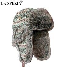 LA SPEZIA Bomber Hat Russian Fur Hats For Women Ushanka Soviet Men Trapper Brand Winter Green Soft Thick Outdoor Russia