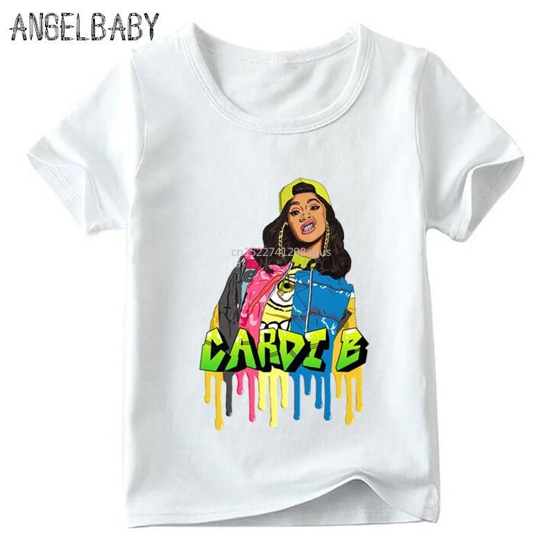 Obliging Kids Hip Hop Rapper Cardi B Print T Shirt Baby Boys/girls Summer Short Sleeve T-shirt Children Casual Funny Clothes,hkp5260