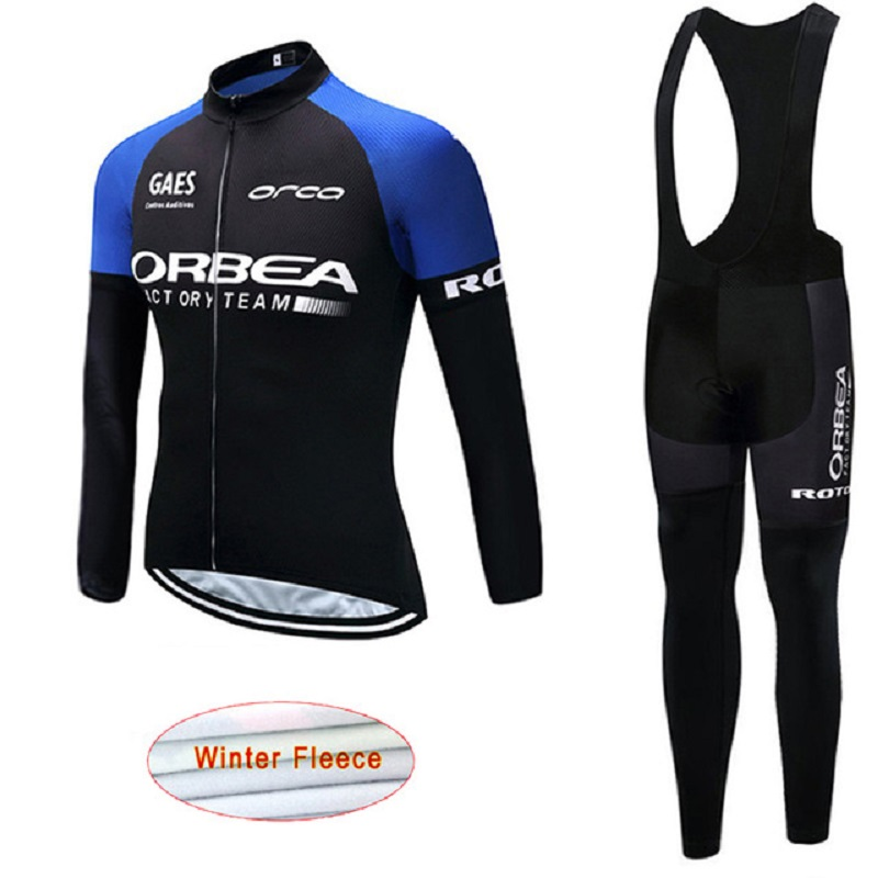 2017 ORBEA Team Winter Thermal Fleece Cycling Jersey Set Clothes Maillot Cycling Clothing Bib Suit Sports jacket Outdoor