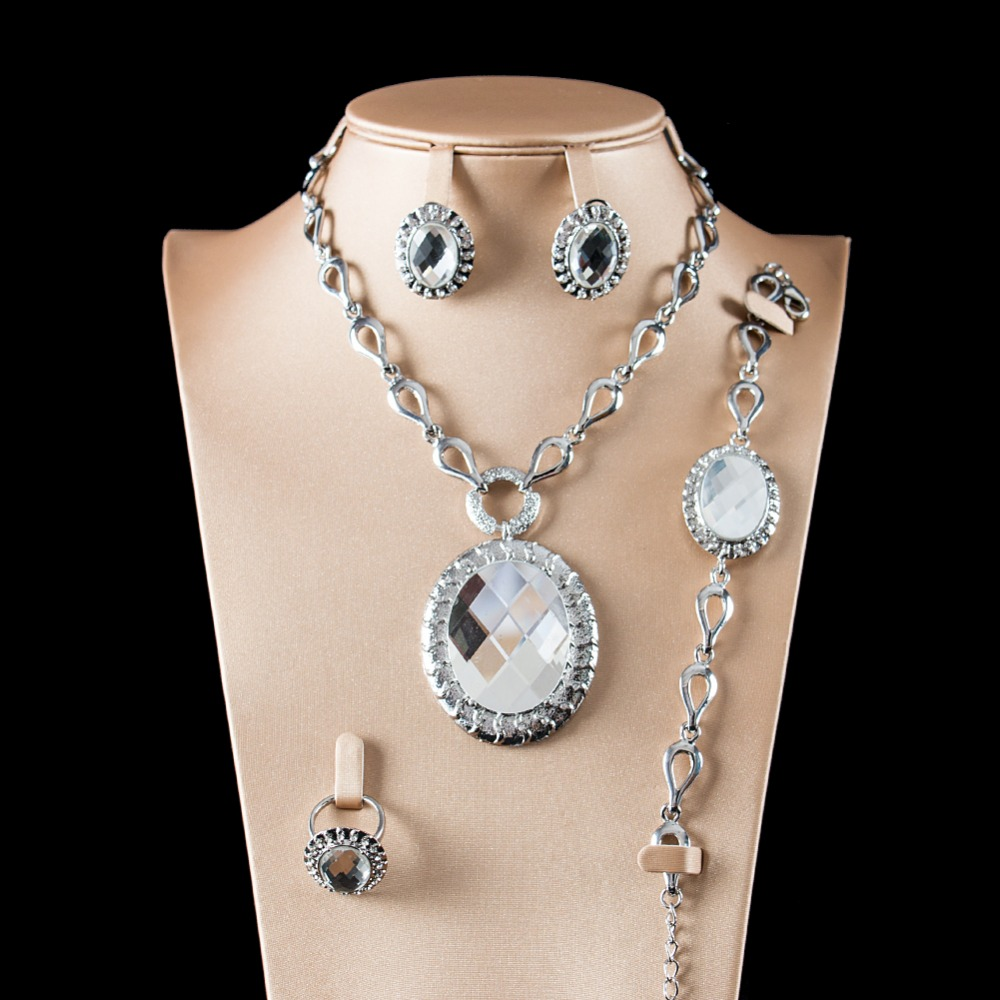 LAN PALACE austrian crystal ladies africa jewellery set Nigeria earrings necklace ring bracelet free shipping