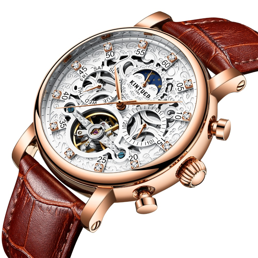Kinyued Скелет Tourbillon механические часы Для мужчин классический мужской золото циферблат кожа механические наручные часы J026-4