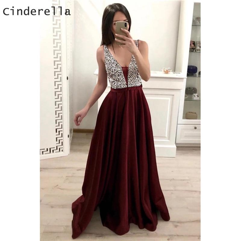 Cinderella Burgundy V-Neck Sleeveless Prom Gowns V-Neck Sleeveless A-Line Satin   Evening     Dresses     Evening   Party   Dresses