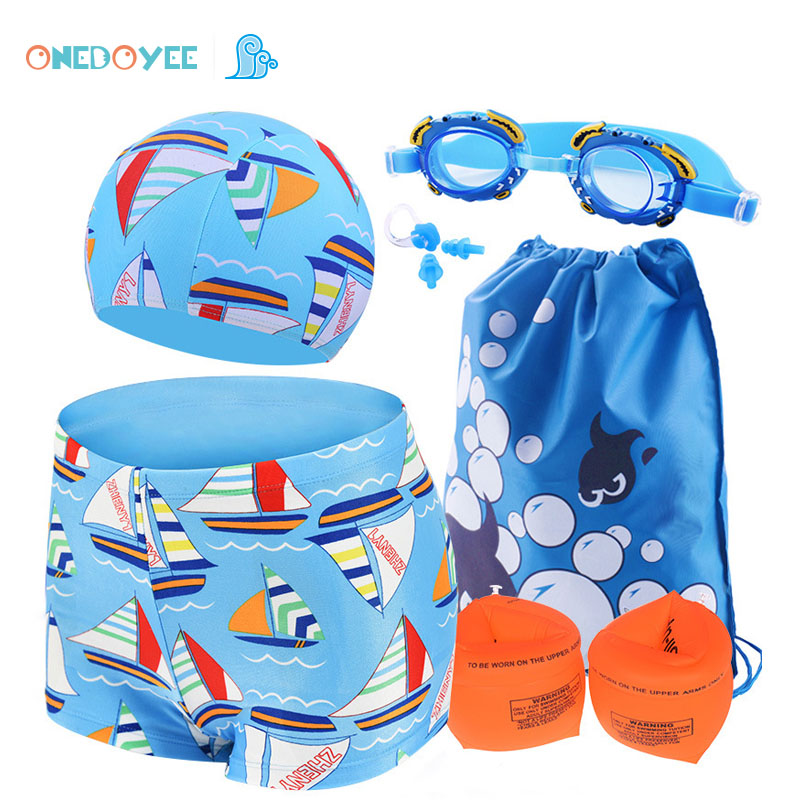 Kids Swimwear 6 PCS Sets 3-10 Year Boys Swimming Polyester Trunks Children Swimsuit Baby Beach Wear Bathing suit kids swimming suit baby clothes swimwear girls summer bathing suits 2018 children one swimsuit 23 movement dress solid polyester