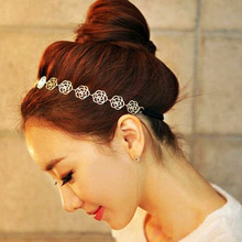 iMucci New Fashion Lovely Metallic Women Hollow Rose Flower Elastic Hair Head Band Gift for Girls