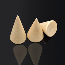 fashion lychee Japanese Style 3pcs Wood Finger Ring Display Holder Stand Ring Organizer Cone Jewellery Stand