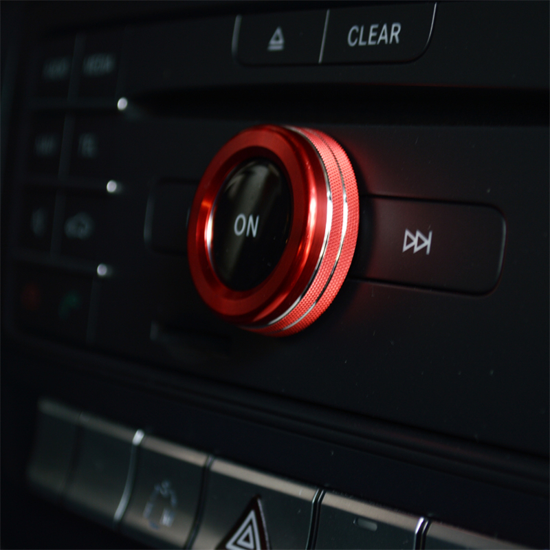 For Mercedes Benz A B Class E Class GLK GLA CLA GLE ML GL Aluminium Alloy On Tune Car Radio Switch Knob Sticker Decoration Ring car covers for mercedes benz a b s gla glk glc m gle gl gls g cla class a180 a200 a260 sunshade protection full car cover