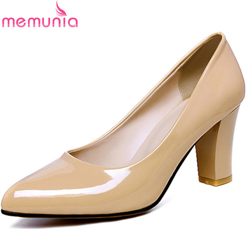 MEMUNIA Plus size 34-47 pointed toe single shoes pumps solid pu four seasons shoes women contracted mature work shoes memunia 2017 fashion flock spring autumn single shoes women flats shoes solid pointed toe college style big size 34 47