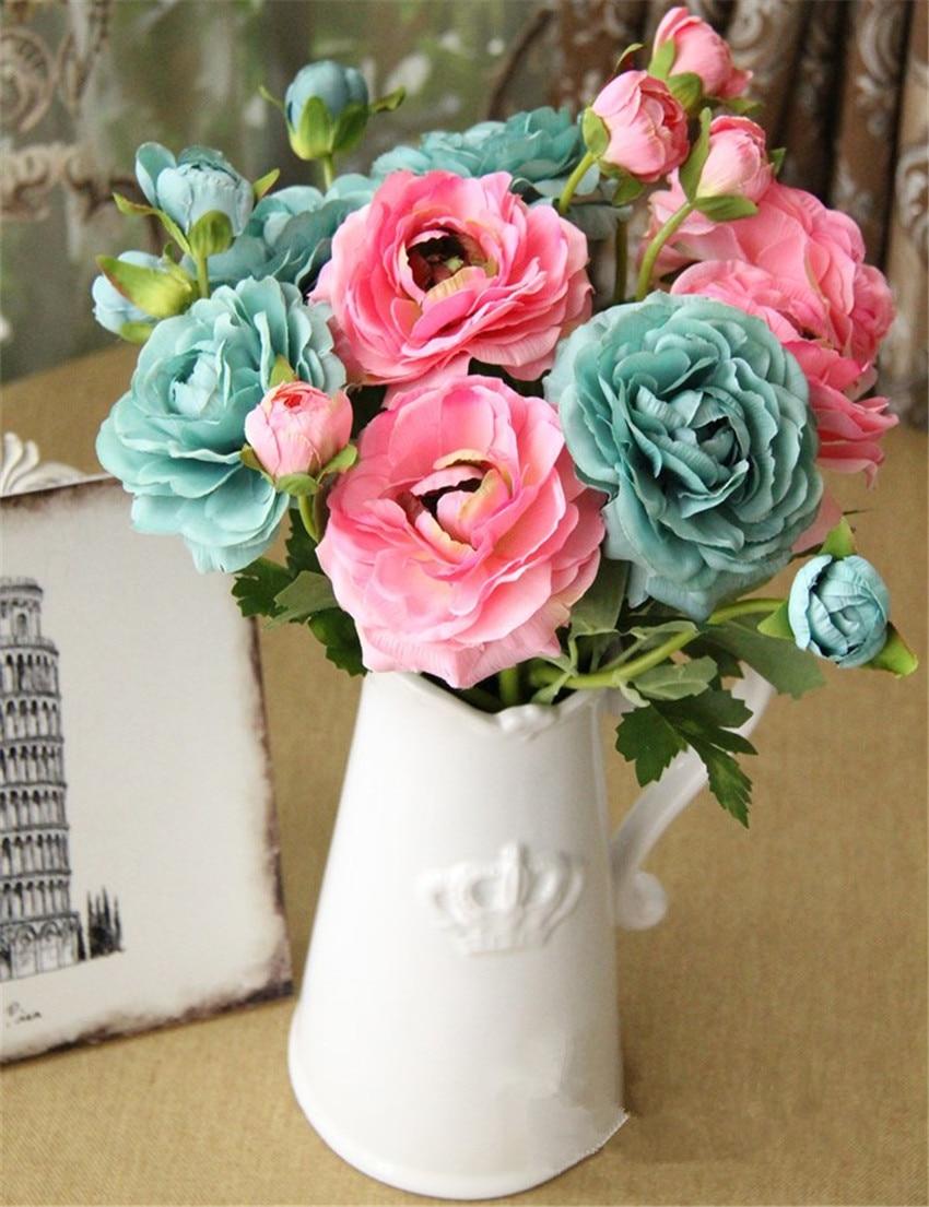 2 blommhuvud europeiska silkesblommor 1 st bukett konstgjord vår - Semester och fester - Foto 4