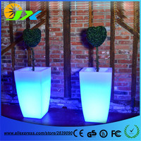 Big Plastic LED Flower Pot Light Color Changing Luminous Floor Vase For Garden Living Room Bedroom