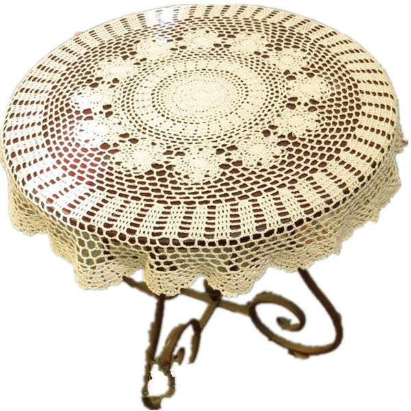 Handmade Crochet Tablecloths Round Crochet Flower American Luxury Doily Cotton Mat Home Decor