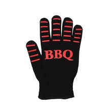 1Pair Baking Grilling Oven Mitts BBQ Oven Mitts Silicone Cotton Heat Resistant Gloves for Cooking Baking Microwave Tools