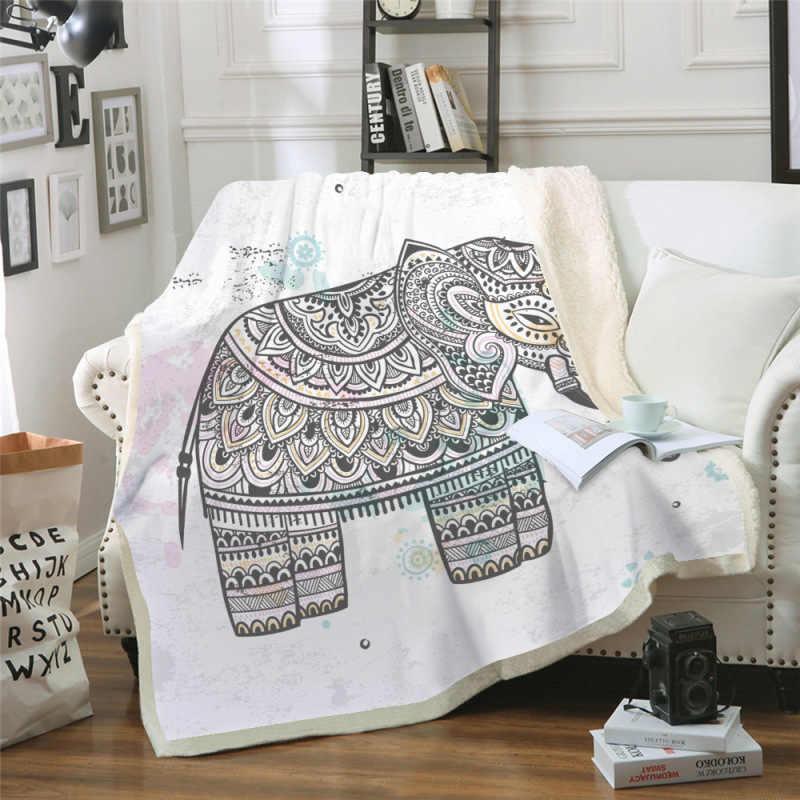 Sofá cojín Yoga manta aire acondicionado es espesado doble capa felpa 3D Digital impreso manta elefante serie