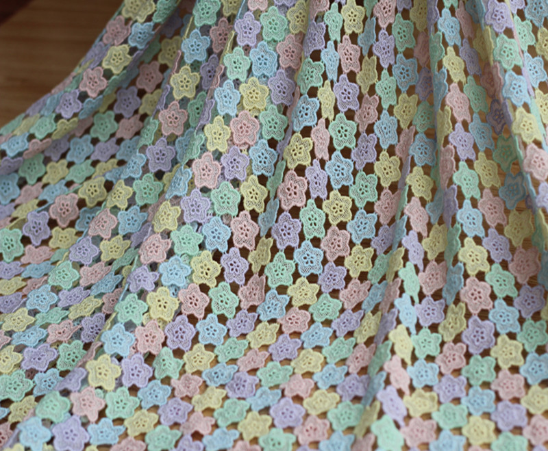 125cm 49.21*1Y Soft Multi-color Cotton Crocheted Lace Fabric,Dress Venise Fabric