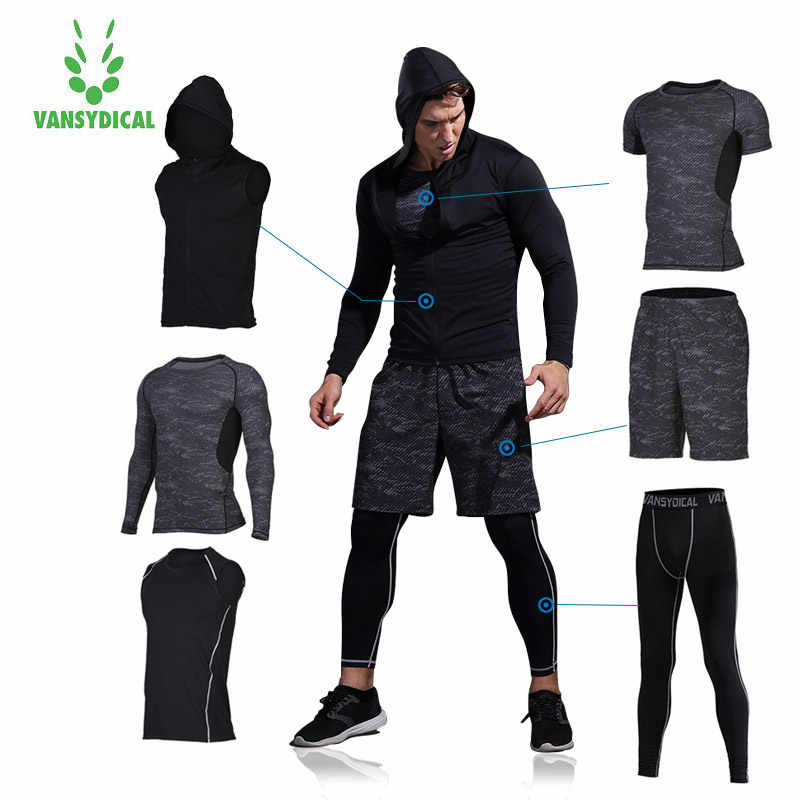 Vansydical Herren Sportswear Kompression Trainingsanzug Sport Anzug Gym Running Training Sets Workout Fitness Strumpfhosen Jogging Shirt