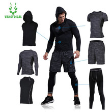 Vansydical Mens Compression Tracksuit Running Sets Sportswear Gym Suits Men Training Workout Tights Fitness Jogging