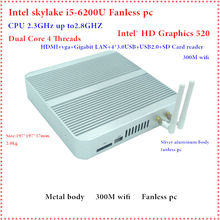 ФГП 6GEN Skylake MiniPC Intel I5 6200U Intel HD Graphics 520 без вентилятора I5 Barebone Mini PC Windows 10 4 К VGA, HDMI мини неттоп HTPC