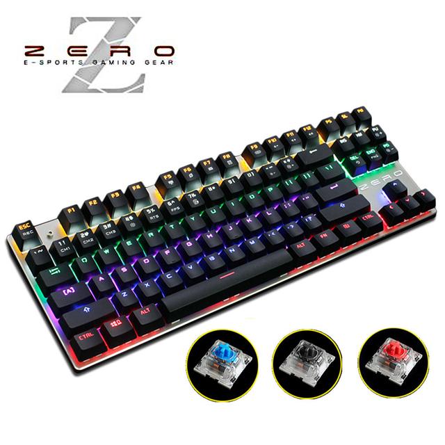Metoo Retroiluminado Gaming Original Teclado Con Cable Teclado Mecánico Anti-ghosting 87 LED Azul/Rojo/Negro Interruptores Ruso etiqueta