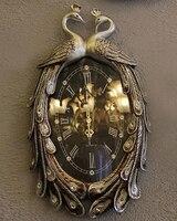 Высококачественный ретро стены акт роль ofing Европейский современное искусство кулон Моды творческого дома настенные часы Двойной павлин к