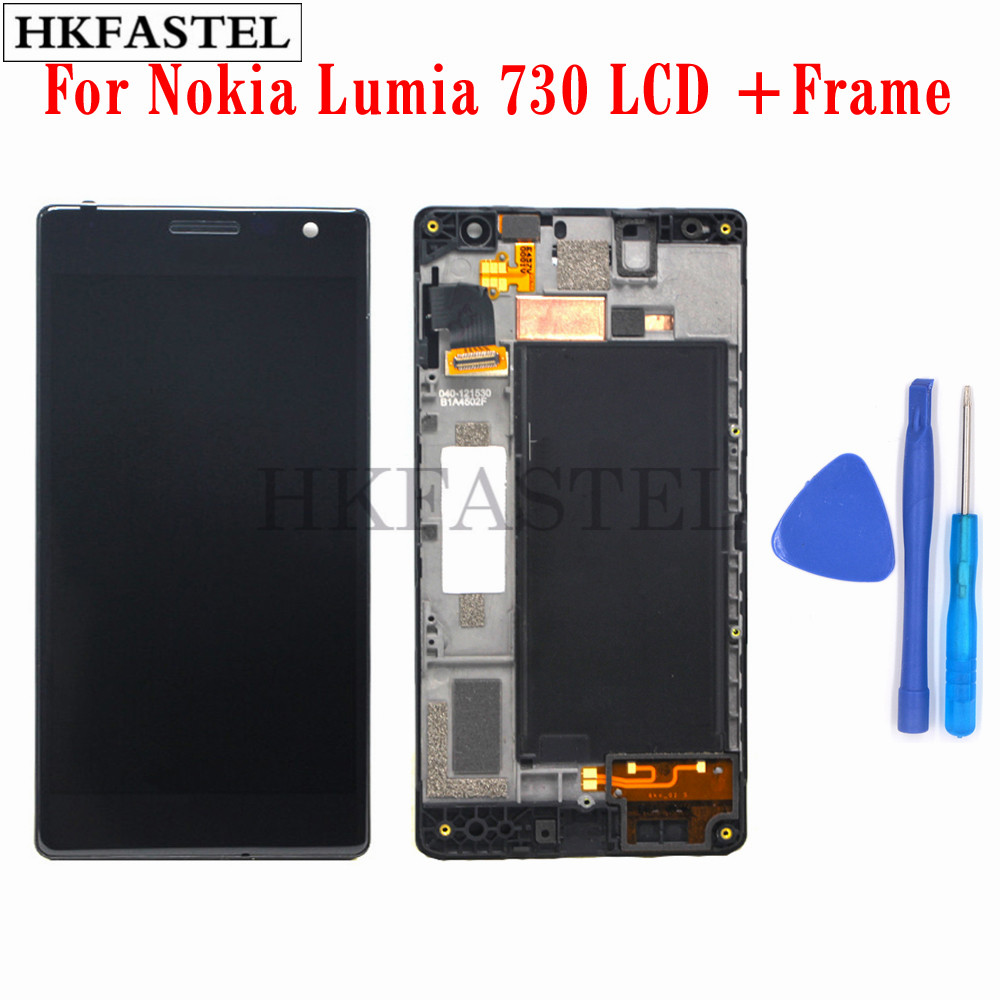 HKFASTEL LCD For <font><b>Nokia</b></font> Lumia 730 Dual SIM RM-<font><b>1040</b></font> LCD Display Touch Screen Digitizer Glass Outer + Front Frame Cover Panel tools image