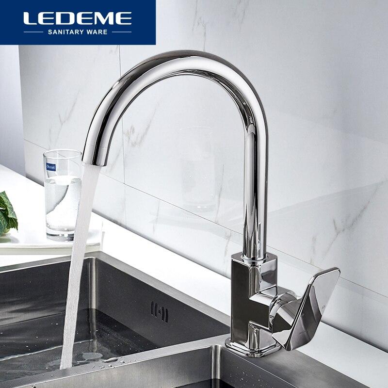 Grifo de cocina LEDEME de 360 grados de rotación de forma de regla de salida curvada grifo de tubería de fontanería de latón grifo de fregadero L4033-2