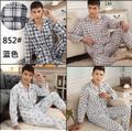 Primavera de algodão Dos Homens de Moda generosa longo-sleeved terno pijama de algodão xadrez calças de pijama terno de multi-cor dos homens
