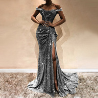 Formal Dress Women Party Long Split Ball Gown Prom Off Shoulder Vestidos Sequined Floor Length Ladies Dress