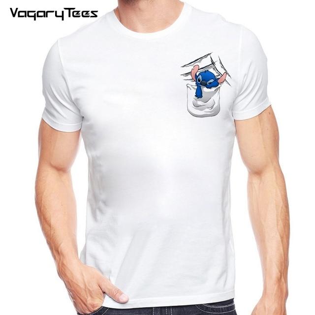 4b21ff4ea8 Funny Bad Cartoon Pocket Alien Lilo Stitch Casual T Shirt Summer White men  Tops Tees boy T-Shirt