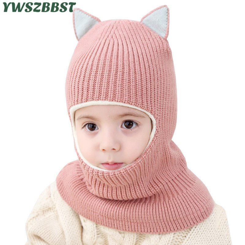Hot Sale Cat Ear Thick Autumn Winter Children Hats Toddler Kids Beanies Cap Girls Boys Warm Wool Hooded Hat Baby Scarves Caps