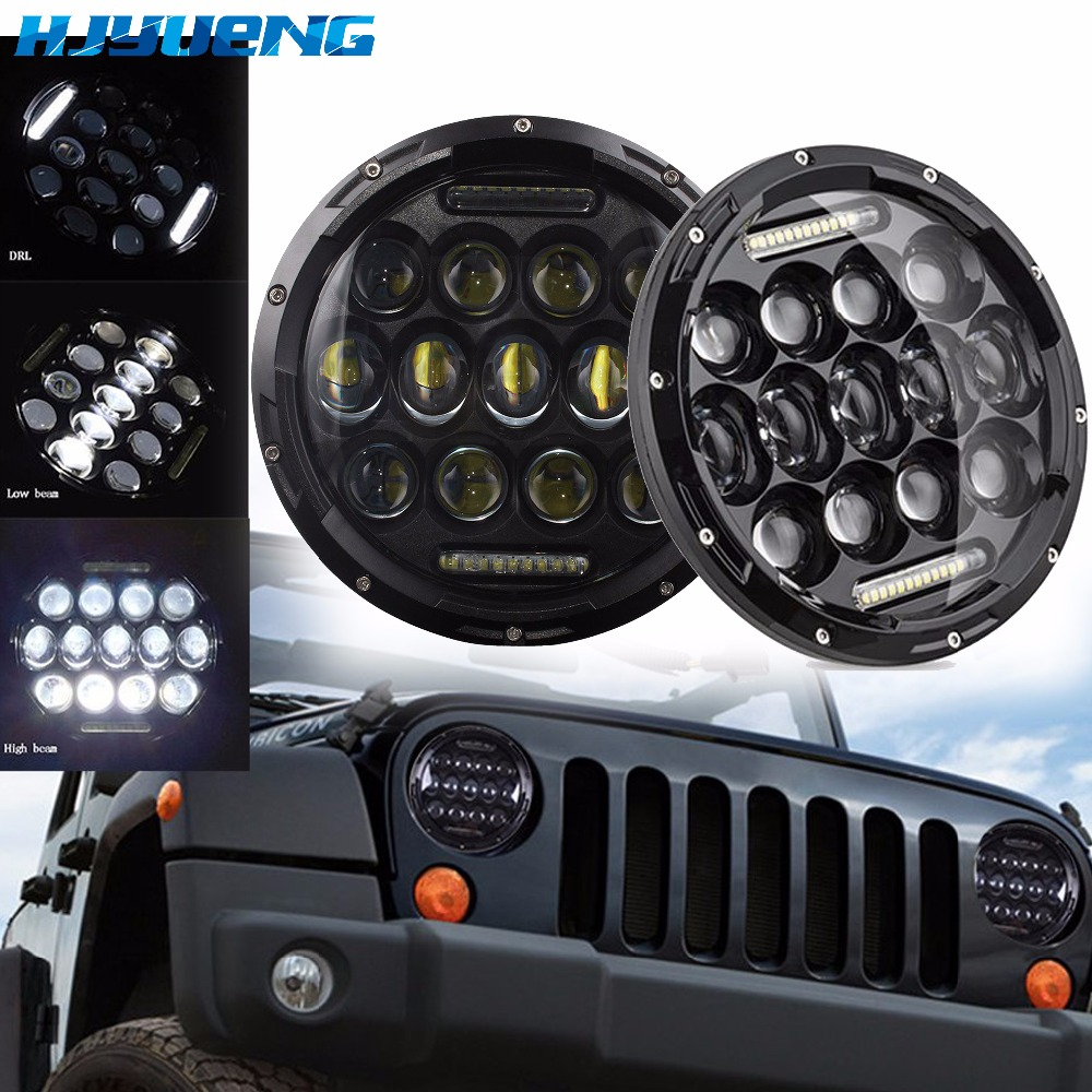 "HJYUENG For UAZ Hunter Suzuki Samurai LED Projector headlight 7"" LED headlamp Light Lamp 7inch For Lada 4x4 urban Niva-in Car Light Assembly from Automobiles & Motorcycles"