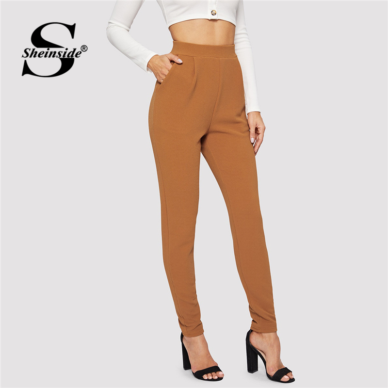 Sheinside Brown Pocket Patched Peg Leg Textured   Pants   Mid Waist Classy Trousers Women 2019 Elastic Waist Long   Pants   and   Capris