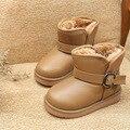 2016 Invierno Nueva Impermeable Suave Cuero de LA PU de Los Niños Calientes de la Nieve botas Antideslizante Infantil Chicos Chicas Winter Plush Interior Botas de Tamaño 26-37