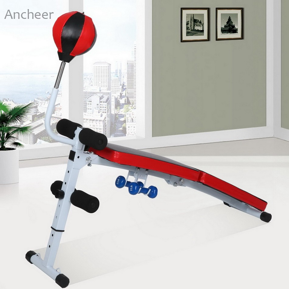 Ancheer Sit Up Benches New Fully Adjustable Folding Gym Weight Fitness Dumbbell With Speed Ball ancheer foldable adjustable sit up abdominal bench ab exercise bench multifunction supine dumbbell bench fitness chair
