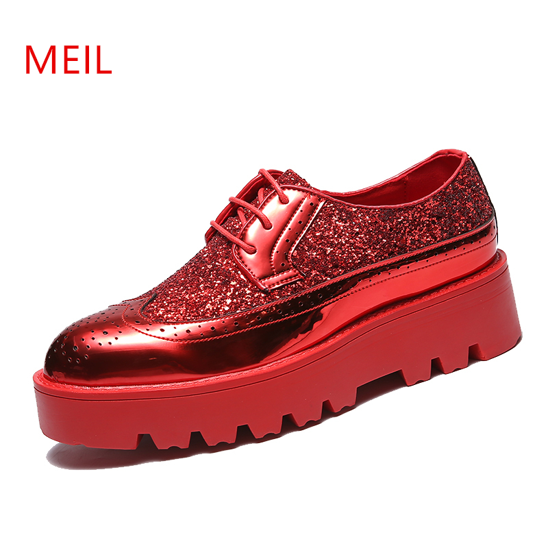 Mens Height Increasing Elevator Oxford Shoes for men Patent Leather Formal Shoes Men Hair Stylist Thick Bottom Platform Sho in Formal Shoes from Shoes