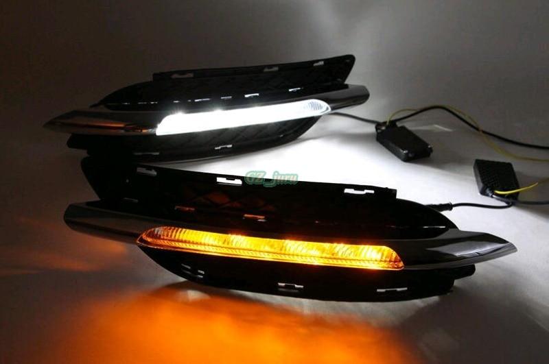 12 В автомобиля DRL комплект для Мерседес-Бенц В200 W246 B180 2011 2012 2013 2014 светодиодные дневные ходовые огни сигнала поворота