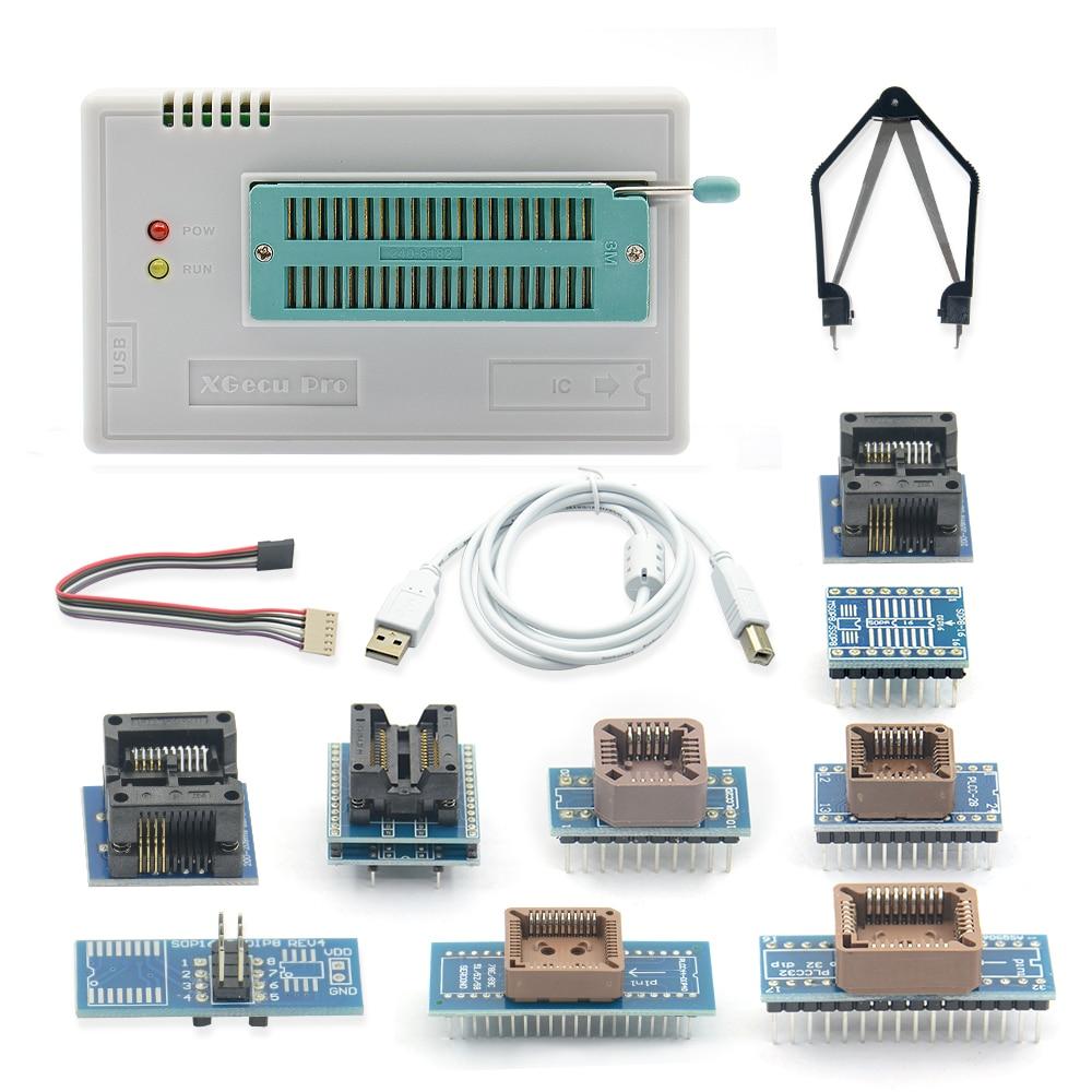 Original NEWEST minipro TL866II Plus USB Universal programmer 10 items IC Adapters High speed English manual