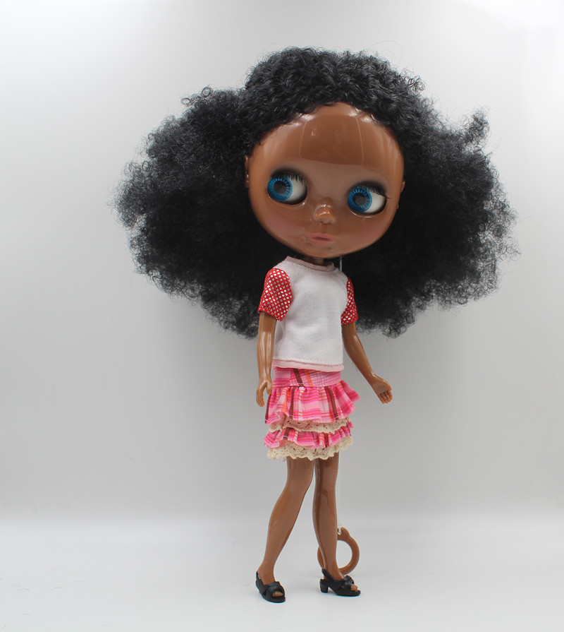 Blygirl Blyth doll Black explosion wavy new skin baby general body 7 joint deep black skin DIY doll can change makeup look ...