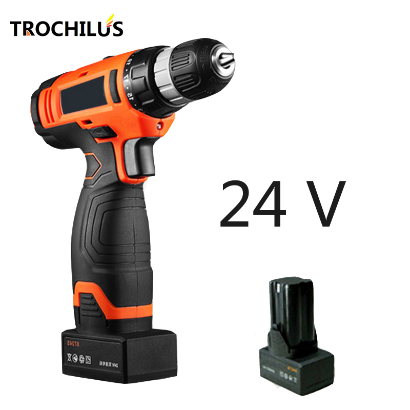 купить 24V Cordless Drills Multi-Function Power Tools Screwdriver Rechargeable Mini Electric Drill Screwdriver with Lithium Battery * 2 недорого