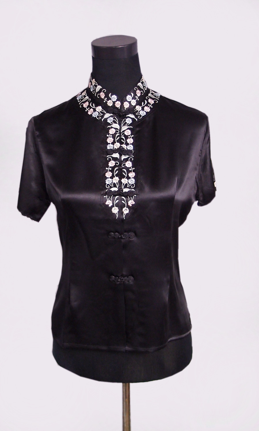 100 natural silk female embroidered stand collar shirt for Stand collar shirt womens