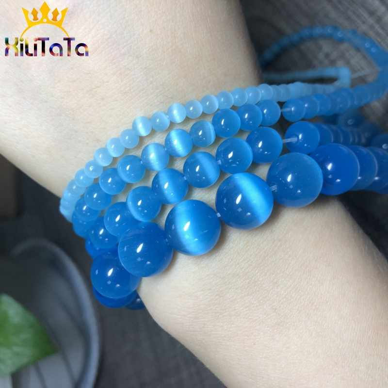 "AAA Kurang Kucing Biru Mata Mata Berkualitas Tinggi Halus Bulat Longgar Beads untuk Perhiasan Membuat Opal Batu DIY Gelang 15 ""Strand 4-12 Mm"