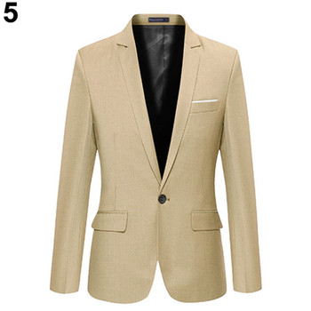 High Quality Cotton Slim Fit Men Suit One Button Blazer
